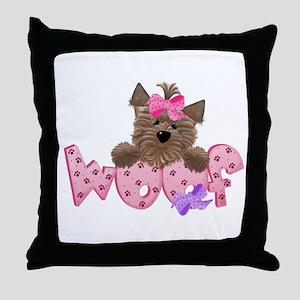 Yorkiegirl Woof Throw Pillow