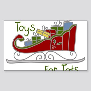 Toys for Tots Sleigh Sticker (Rectangle)