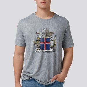 Iceland Coat of Arms wood.p Mens Tri-blend T-Shirt