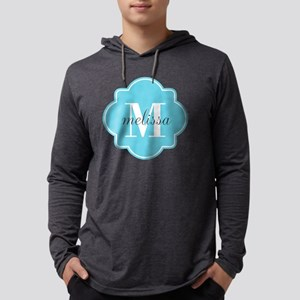 Turquoise Custom Personalized Mo Mens Hooded Shirt