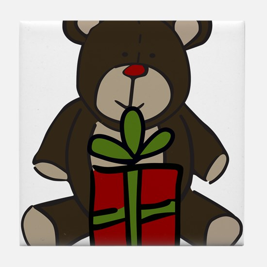 Christmas Teddy Bear Gift Tile Coaster