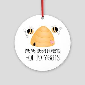 19th Anniversary Honey Ornament (Round)