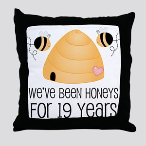 19th Anniversary Honey Throw Pillow