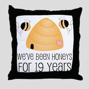 19th Anniversary Honey Throw Pillow