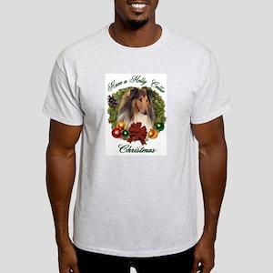 Holly Collie Christmas Ash Grey T-Shirt