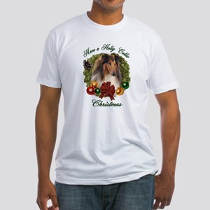 Holly Collie Christmas Fitted T-Shirt