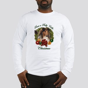 Holly Collie Christmas Long Sleeve T-Shirt
