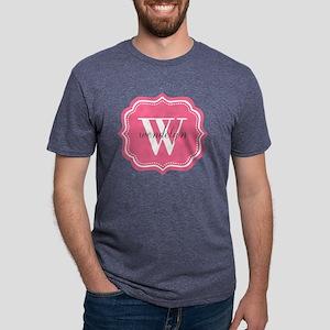 Pink Custom Personalized Mo Mens Tri-blend T-Shirt
