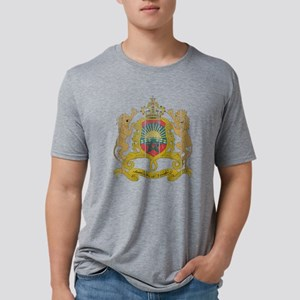 Morocco Coat of Arms wood.p Mens Tri-blend T-Shirt