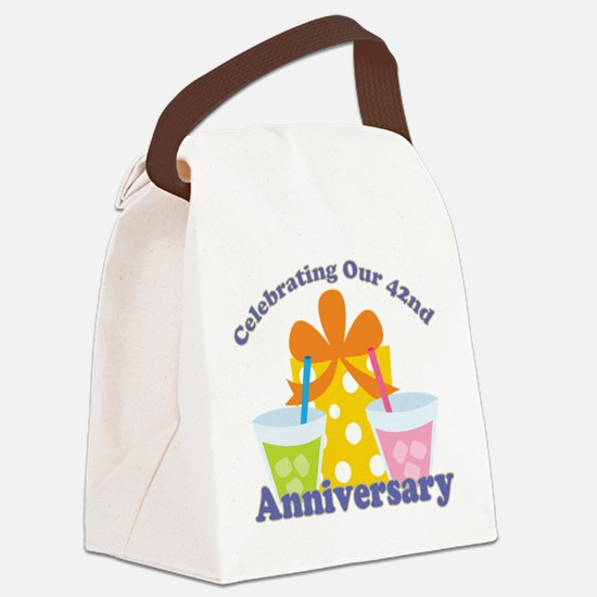 42nd Anniversary Party Gift Canvas Lunch Bag