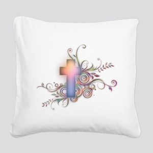 Colorful Cross Square Canvas Pillow