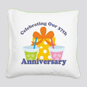 37th Anniversary Party Gift Square Canvas Pillow