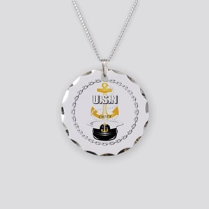 Navy - CPO - Chief Hat Necklace Circle Charm