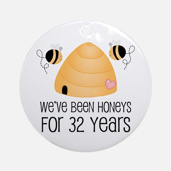 32nd Anniversary Honey Ornament (Round)