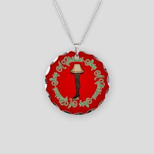 Fancy Leg Lamp Necklace Circle Charm