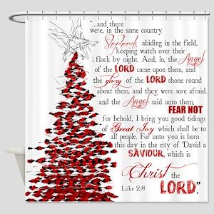 Luke 2:8 Shower Curtain