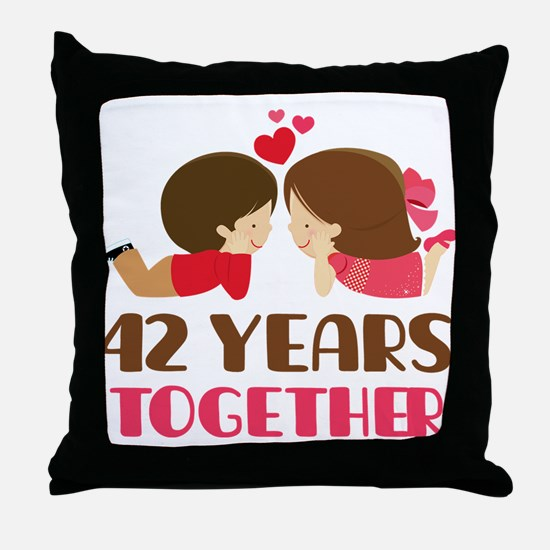 42 Years Together Anniversary Throw Pillow