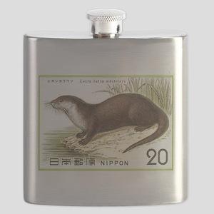 1974 Japan River Otter Postage Stamp Flask