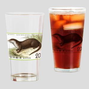 1974 Japan River Otter Postage Stamp Drinking Glas