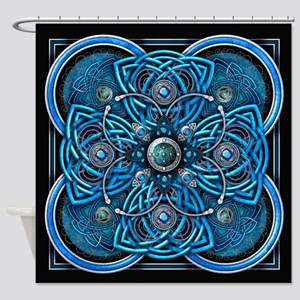 Blue Celtic Tapestry Shower Curtain