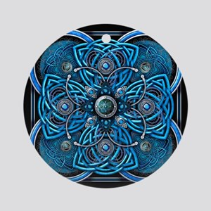 Blue Celtic Tapestry Ornament (Round)