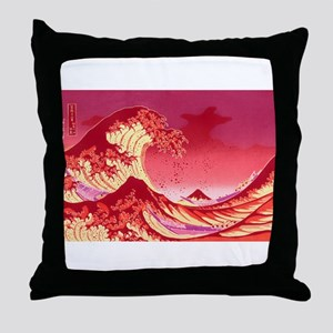 The Great Wave Off (Red) - Throw Pillow