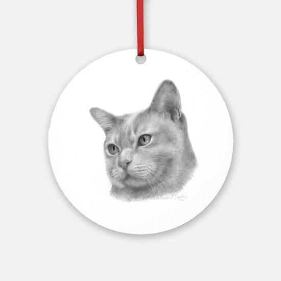 Burmese Cat Ornament (Round)