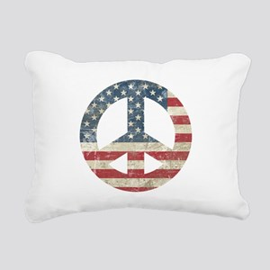 Vintage Peace In America Rectangular Canvas Pillow