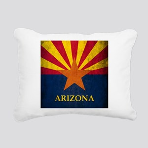Grunge Arizona Flag Rectangular Canvas Pillow