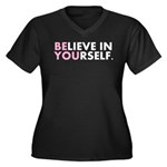 Believe in Yourself (white) Women's Plus Size V-Ne