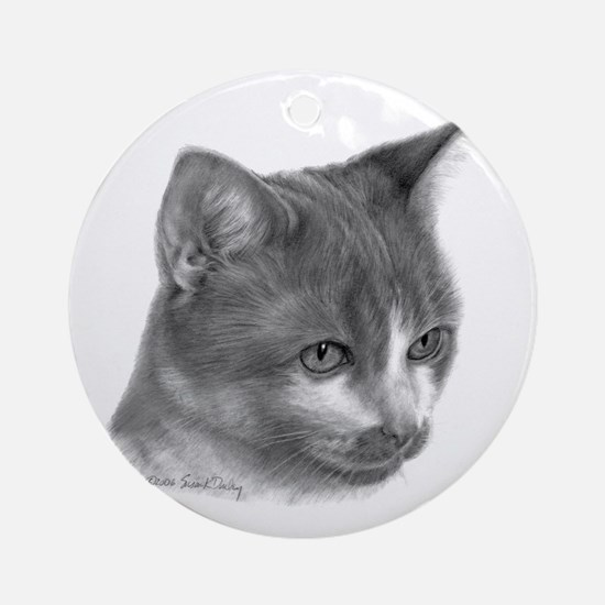 Orange & White Short-Hair Cat Ornament (Round)