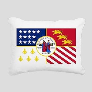Detroit Flag Rectangular Canvas Pillow