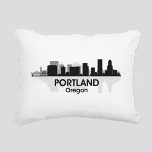 Portland Skyline Rectangular Canvas Pillow