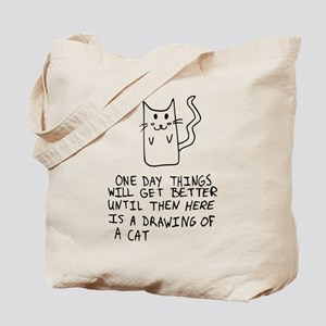 Here is the drawing of a cat_CP Tote Bag