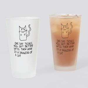 Here is the drawing of a cat_CP Drinking Glass
