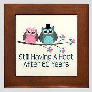 60th Anniversay Owls Framed Tile