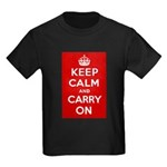 Keep Calm and Carry On Kids Dark T-Shirt