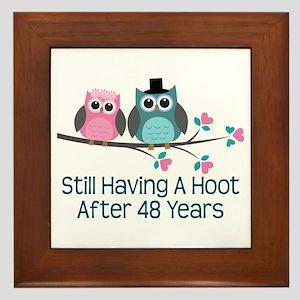 48th Anniversay Owls Framed Tile