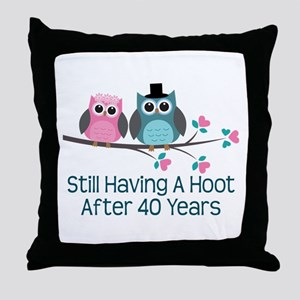 40th Anniversay Owls Throw Pillow