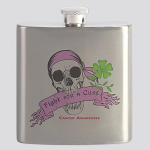 Fight For a Cure Skull Scroll Pink Flask