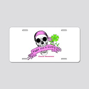 Fight For a Cure Skull Scroll Pink Aluminum Licens