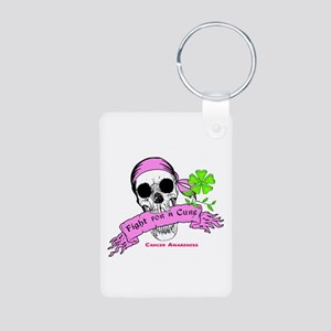 Fight For a Cure Skull Scroll Pink Aluminum Photo