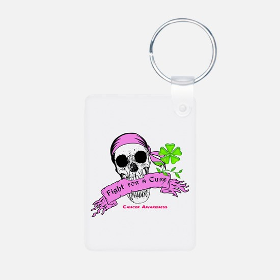 Fight For a Cure Skull Scroll Pink Keychains