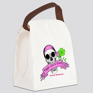 Fight For a Cure Skull Scroll Pink Canvas Lunch Ba