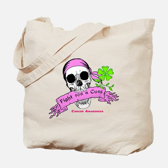 Fight For a Cure Skull Scroll Pink Tote Bag