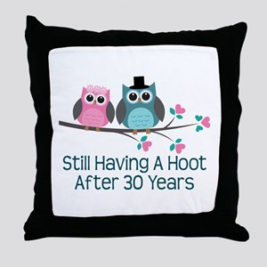 30th Anniversay Owls Throw Pillow