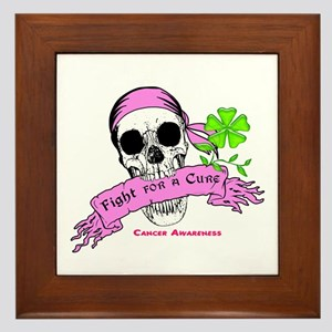Fight For a Cure Skull Scroll Pink Framed Tile