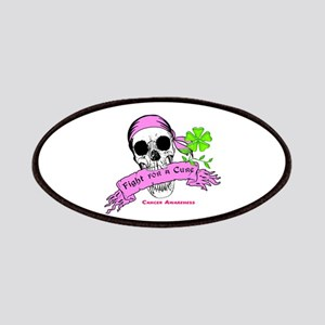 Fight For a Cure Skull Scroll Pink Patches
