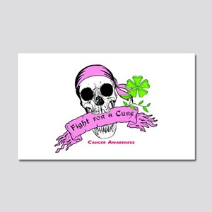 Fight For a Cure Skull Scroll Pink Car Magnet 20 x
