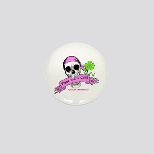 Fight For a Cure Skull Scroll Pink Mini Button